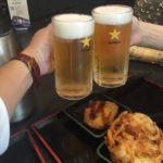 おそば屋さん「ゆで太郎 竹芝店」で乾杯!生ビールのノボリにロックオンされました