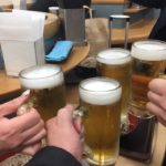 高田馬場の「富士そば」で乾杯/飲んだ締めに中ジョッキで乾杯!